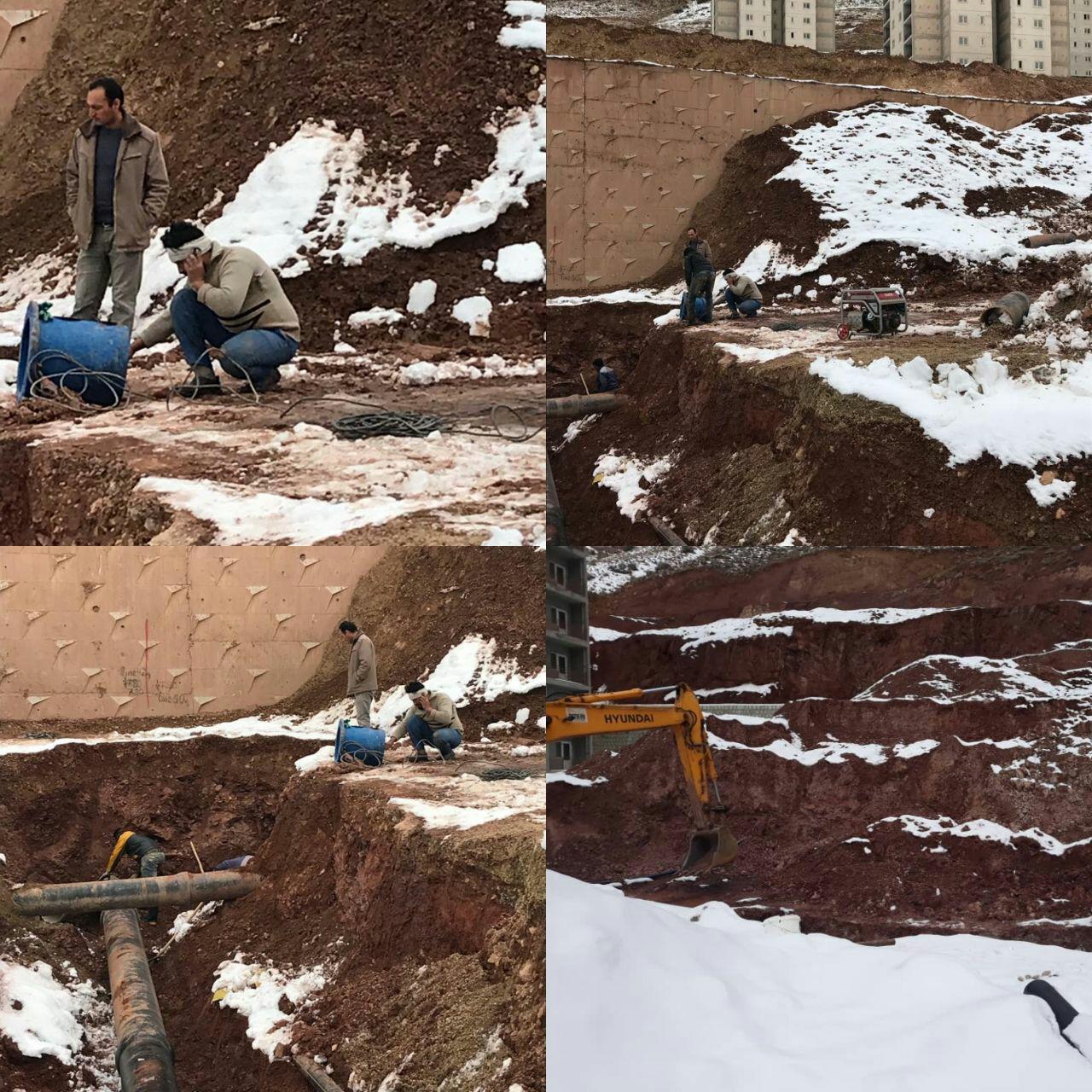ریزش برداری و ادامه حفاری خط ۴۰۰ چدن شبکه توزیع آب زون ۵ پردیس   شنبه: ۹۷/۱۰/۱۶